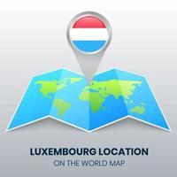ícone de localização de luxemburgo no mapa mundial, ícone de alfinete redondo de luxemburgo vetor