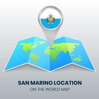 ícone de localização de san marino no mapa mundial, ícone de alfinete redondo de san marino vetor
