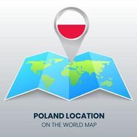 ícone de localização da polônia no mapa mundial, ícone de alfinete redondo da polônia vetor