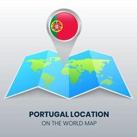 ícone de localização de Portugal no mapa-múndi, ícone de alfinete redondo de Portugal vetor