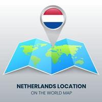 ícone de localização da Holanda no mapa mundial, ícone de pino redondo da Holanda vetor