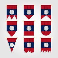 bandeira do laos em diferentes formas, bandeira do laos em várias formas vetor