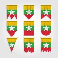 bandeira de myanmar em diferentes formas, bandeira de myanmar em várias formas vetor