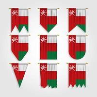 bandeira de Omã em diferentes formas, bandeira de Omã em várias formas vetor