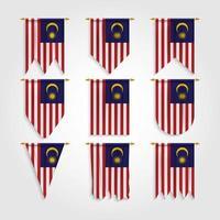bandeira da malásia em diferentes formas, bandeira da malásia em várias formas vetor