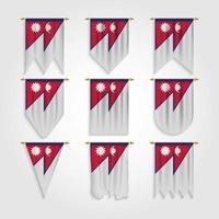 bandeira do nepal em diferentes formas, bandeira do nepal em várias formas vetor