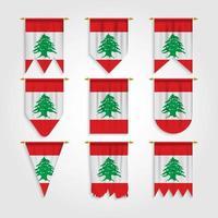 bandeira do Líbano em diferentes formas, bandeira do Líbano em várias formas vetor
