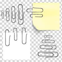 papel branco com clipes metálicos brilhantes vetor