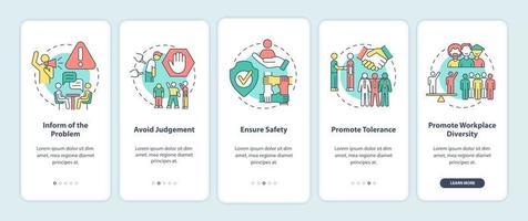 racismo no trabalho integração da tela da página do aplicativo móvel. evite julgamentos, garanta a segurança através de instruções gráficas de 5 etapas com conceitos modelo de vetor ui, ux, gui com ilustrações coloridas lineares