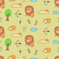 leão, ouriço e padrão sem emenda da natureza vetor