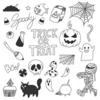 doodles fofos de halloween, doce ou travessura vetor