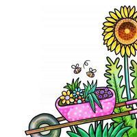 aquarela primavera flor fronteira jardim vetor