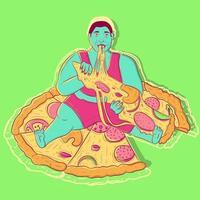 ilustração de um homem com fome e obeso sentado em cima de uma pizza com calabresa, cogumelo e queijo. pessoa gorda com sobrepeso e preguiçosa comendo junk food. estilo de vida sedentário e hábitos pouco saudáveis. vetor