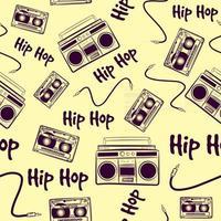 vintage padrão sem emenda com elementos de hip-hop de música antiga. fundo repetitivo com caixas de som, cassetes e cabos. arte retro nostálgica dos anos 90 e 80 com dispositivos hiphop. vetor