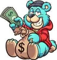 urso do dinheiro dos desenhos animados vetor
