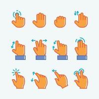 conjunto de ícone de gesto humano usando dispositivos digitais vetor