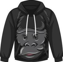 Frente do casaco com capuz com estampa de gorila vetor