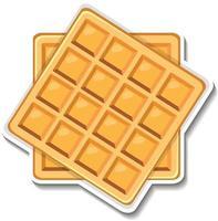 adesivo quadrado de waffle em fundo branco vetor