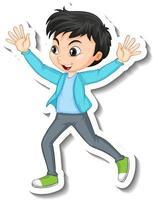 desenho de adesivo com personagem de um menino feliz vetor