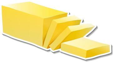 adesivo de manteiga fatiada em fundo branco vetor