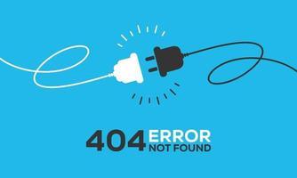 tomada elétrica com plugue. conceito de conexão e desconexão. conceito de conexão de erro 404. plugue elétrico e tomada desconectados. fio, cabo de desconexão de energia vetor
