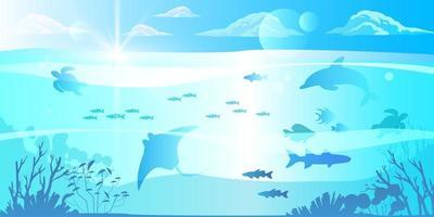 banner subaquático de verão, fundo de mergulho exótico no oceano azul, arraia, golfinho, tartaruga, nuvens vetor