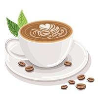 menu de café quente na composição de vista frontal do copo branco de grãos de café e folhas de café em um fundo branco. vetor