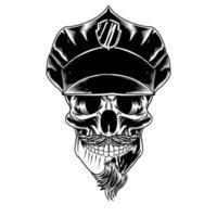 crânio isolado com mascote bigode vetor