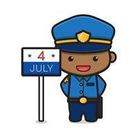 personagem policial fofo comemorar o dia da independência da América ilustração vetorial ícone dos desenhos animados vetor