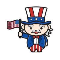 velho desenho animado segurando uma bandeira dos EUA para comemorar o dia da independência vetor