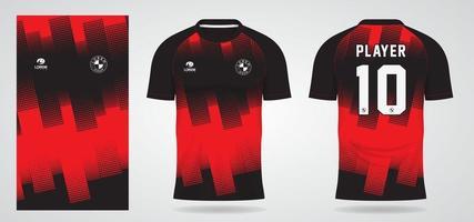 modelo de camisa esportiva vermelha preta para uniformes de equipe e design de camisetas de futebol vetor