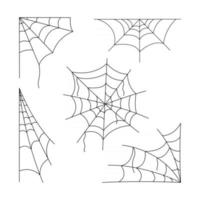 conjunto de teias de aranha de halloween vetor