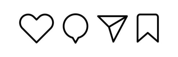 ícones minimalistas de mídia social, como, comentar, compartilhar e salvar ícones. ícone plano de mídia social vetor