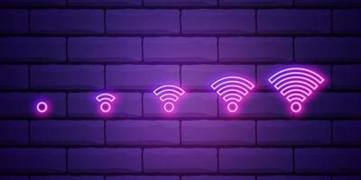 sinal de néon wi-fi. Anúncio brilhante de noite de vetor ilustração vetorial em estilo neon para café e conexão. ilustração do vetor em estilo neon isolado na parede de tijolos.