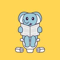 elefante fofo fazendo cocô no banheiro e lendo jornal. conceito de desenho animado animal isolado. pode ser usado para t-shirt, cartão de felicitações, cartão de convite ou mascote. estilo cartoon plana vetor