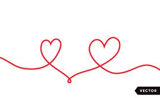 Contínua linha um desenho do coração vermelho isolado no fundo branco. Ilustração vetorial vetor