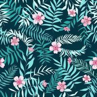 folhas tropicais sem emenda e flores cor de rosa. fundo tropical. impressão para teia, tecido e papel de embrulho. vetor