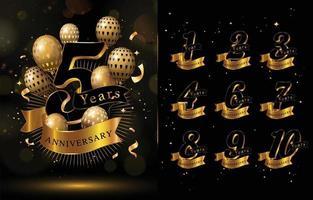 conceito elegante de aniversário com cores douradas e pretas vetor