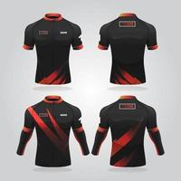 modelo de camisa de ciclismo preta e vermelha vetor