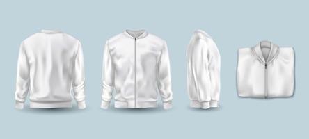Conjunto de jaqueta bomber em branco na cor branca vetor