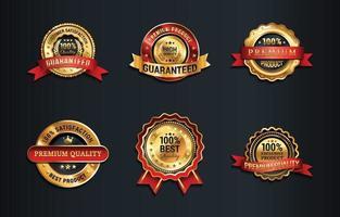 coleção de emblemas de confiança dourada vetor