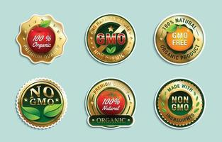 coleção de emblemas e adesivos sem gmo vetor