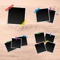 polaroid em branco com modelos de fita colorida vetor