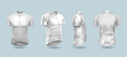conjunto de modelo de camisa branca de bicicleta vetor