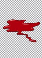 Xarope de sangue ou morango ou ketchup em fundo transparente. Ilustração vetorial vetor