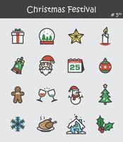 conjunto de ícones do festival de Natal 5. design de cor lisa. vetor