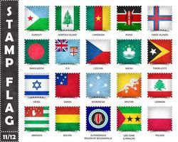 carimbo com padrão de bandeira oficial do país e o antigo nome de textura e países grunge. forma quadrada . vetor. conjunto 11 de 12 nesta série. todas as bandeiras nacionais do mundo. vetor