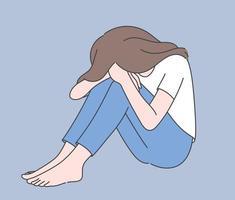 desespero, frustração, depressão. jovem deprimido chateado mulher desesperada personagem de desenho animado sentada no chão cobrindo rosto chorando vetor