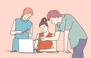 coworking, equipe, treinamento, discussão. equipe de colegas de parceiros homem e mulher conversando trabalham juntos. trabalho em equipe, projeto de design em reunião de escritório. vetor