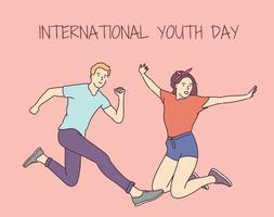 dia internacional da juventude. 12 de agosto. feliz menino e menina pulando juntos e se divertindo. vetor